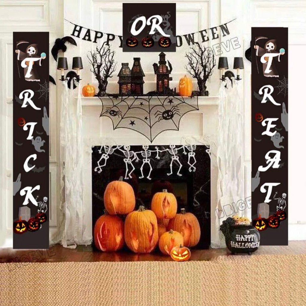Halloween Outdoor Banners | Trick or Treat Banner Halloween Signs for Front Door Display or Indoor Home Decor | Porch Decorations | Halloween Welcome Signs by BIGEVE