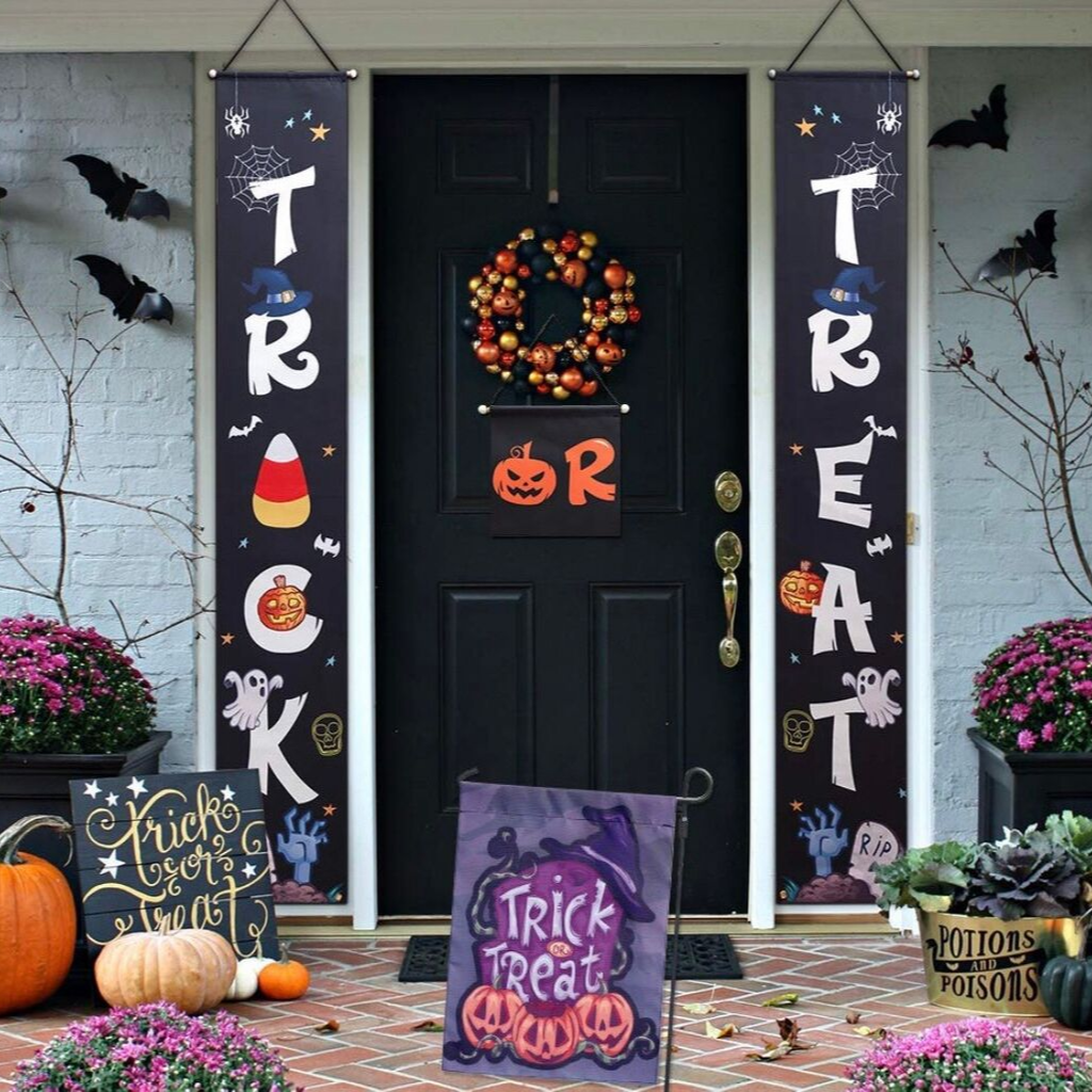 Trick or Treat Front Door Display and Double Sided Scary Flag for Garden,Durable Halloween Home Decor.by Dmight