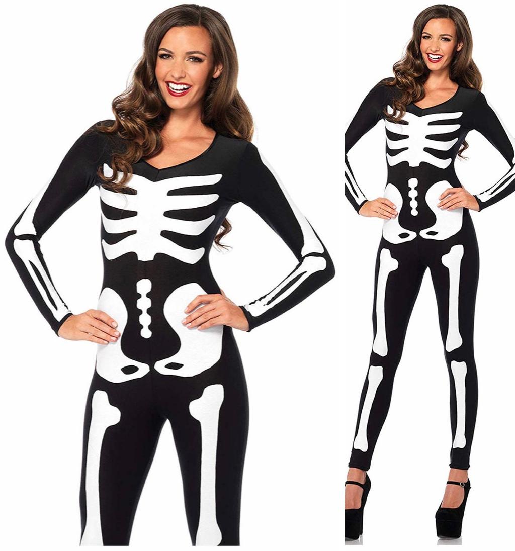 Women's Glow in The Dark Skeleton Bodysuit Halloween Costume