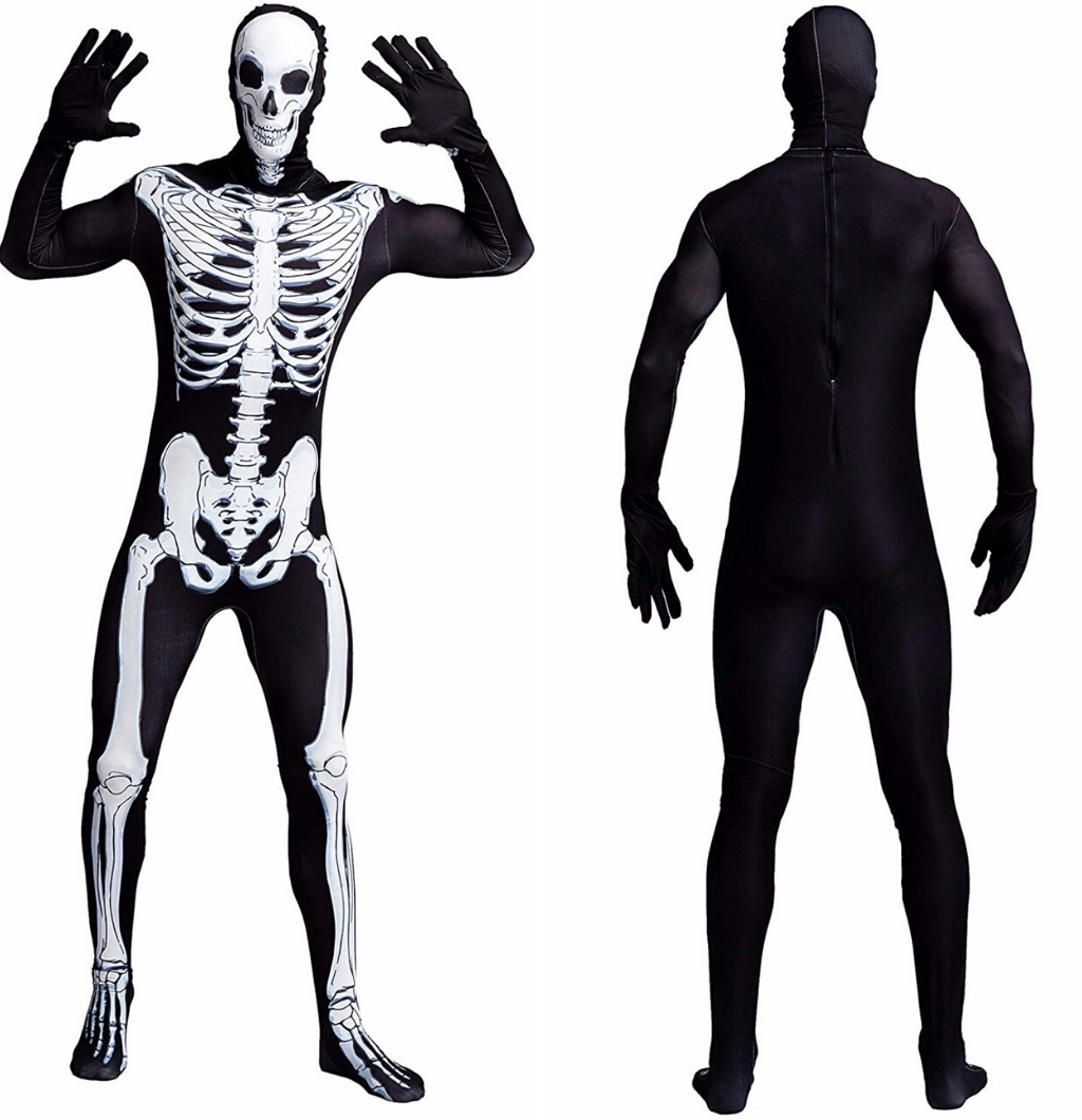 Men Skeleton Bone Bodysuit